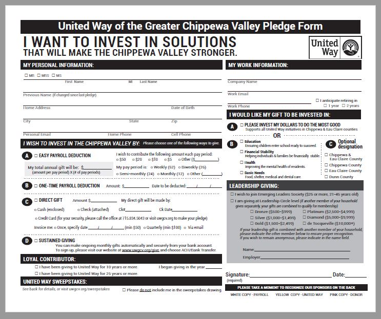 United Way of the Greater Chippewa Valley Campaign Pledge Form