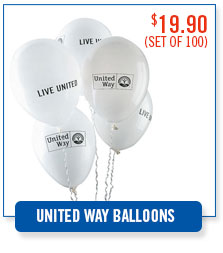 United Way LIVE UNITED balloons